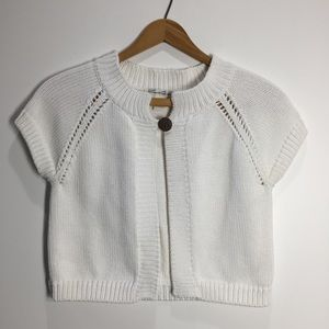 Kenneth Cole White Knit Crop Top Size PS